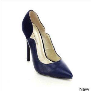 NEW Sexy C Label Navy Blue Faux Leather Pumps 8.5